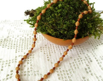 Natural handmade birch bark beaded necklace  from Sweden