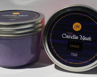 100% Natural Soy Wax, Lilac Scented Candles