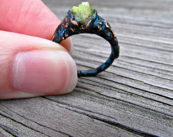 Raw green opal ring, electroformed ring, oxidized copper jewelry, quirky jewelry, copper statement ring, raw crystal ring