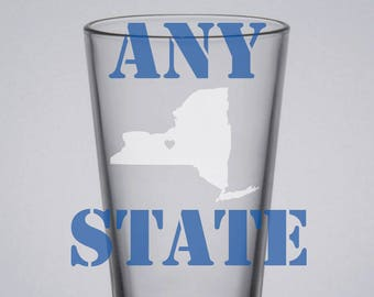 State Pint Glass, Custom Pint Glass, Etched Glass, Home Is Where the Heart Is Pint, New York, Texas, California, Florida, Maine, Beer Glass