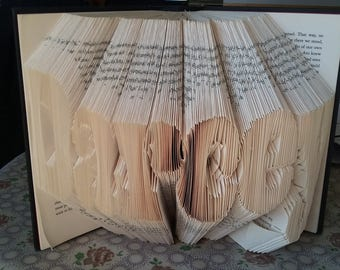Customised Book folding. Gift. Name. Word. Date. Personalised Book Art. Unique Gift