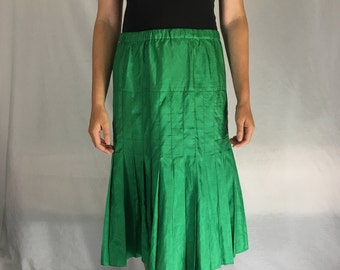 Vintage Silk Pleated Emerald Skirt