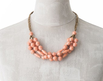 Paper necklace FELISTAS   salmon orange   Uganda