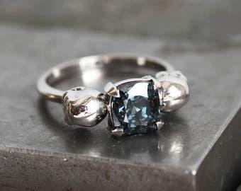 Cushion Engagement Ring, Skull Engagement Ring, Spinel Skull Ring, Spinel Engagement Ring, Double Skull Ring, Gold Skull Ring, Skull Wedding