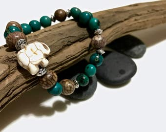 """White """"Good Luck"""" Elephant Bead Bracelet with Turquoise and Brown Acai Beads"""