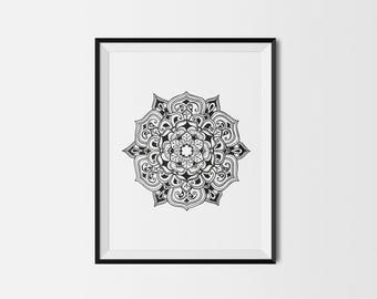 Black mandala giclée print