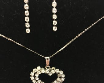 Double heart rhinestone necklace and earring set