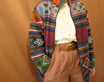 Vintage 1980s Colourful Wool Patterned Nepalese Ethnic Jacket Coat