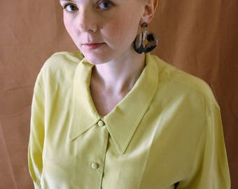Vintage 1990s Laura Ashley Lime Yellow 100% Silk Blouse Size M