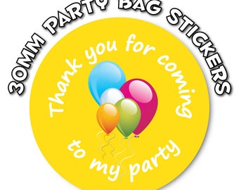 Thank You For Coming To My Party - Birthday Stickers, party bag seals - 30mm Party Balloon Yellow stickers