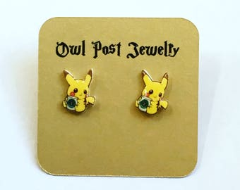 Pokemon Earrings Stainless Steel Studs Pikachu