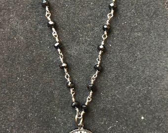 Fashionable Starburst CZ pave rhinestone gunmetal 18mm pendant necklace