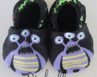 Purple Monster Baby Shoes, Purple Black Baby Shoes, Soft Sole Baby Boy Shoes, Baby Shower Gift