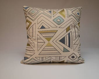Designer Square Throw Pillow, Embroidered Pillow Cover, Unique Modern 18x18 Decorative Pillow