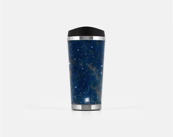 Galaxy Travel Mug, Blue Travel Tumbler, Travel Coffee Tumbler, Space Tumbler Cup, Stainless Steel Travel Tumbler, To Go Mug, 16 oz