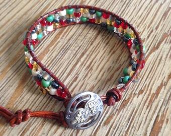 Leather wrap, beaded bracelet, seed beads, sead bead bracelet