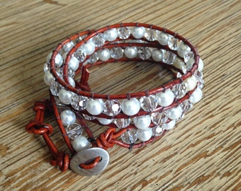 Crystal and glass pearl, leather wrap, beaded bracelet, wrap bracelet, leather wrap bracelet, beaded wrap bracelet