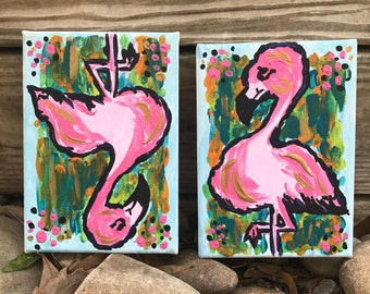 5x7 Mini Flockers - Pink Flamingo Abstract