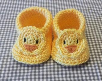 Handmade Baby Gift |  Crochet Baby Booties | Yellow Chick | Easter | Spring Gift | Baby Shower | New Baby | Baby Boy | Baby Girl | Animal