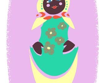 Matriochka, poupée russe, enfant, naïf, couleur, rose, orange, vert