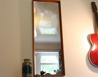 Retro Full Length Wall Mirror. Solid Teak Surround. Vintage Mid Century 1960s Danish Style. Immaculate Condition.
