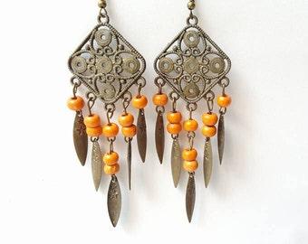 Boho Earrings, Copper Earrings, Boho Jewelry, Dangle Copper Earrings, Ethnic Earrings, Antique Copper rings, Wooden earrings