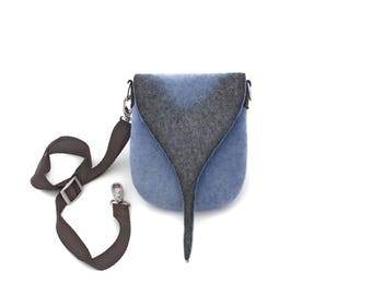 Women small felt crossbody handbag Across body style wool bag Cross body blue purse Unusual felt bag Every day shoulder bag OOAK felted gift