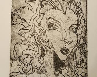 Ink Etching Drawing: Mysterious Woman