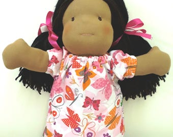 Kasih dolls (Waldorf inspired dolls handmade with love) - Tan skin with Pink Butterfly Dress