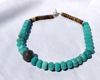Turquoise and Wood Asymmetrical Necklace