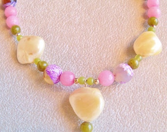 Jade Necklace, Mother of Pearl Necklace, Green Jade Necklace, Pink Jade Jewelry, Purple Agate, Handmade, Green and Pink Jade,Mother of Pearl