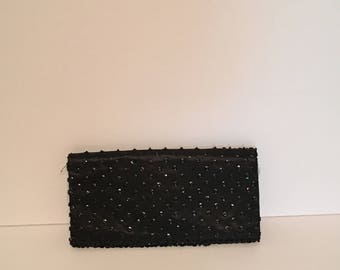 1950's Vintage Beaded Black Clutch