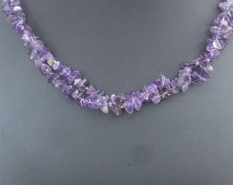 """2-Strand Amethyst Chip Necklace 21.5"""" with Free Matching Earrings"""
