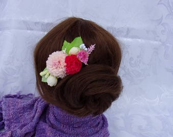Comb hair with artificial flowers roses/attachment of marriage/comb barrette fabric flowers/flowers