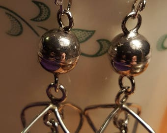 Vintage Geometric Sterling Silver Dangle Earrings