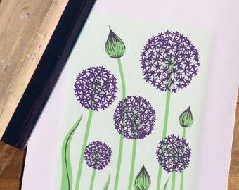 Allium Flowers Screen Print A3. Hand-pulled. Original Design.