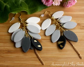 Polymer Clay Earrings~ Black White Earrings~ Handmade Jewelry~ Polymer Clay Jewelry~ Cluster Earrings~ Dangle Earrings~ Leaves Earrings