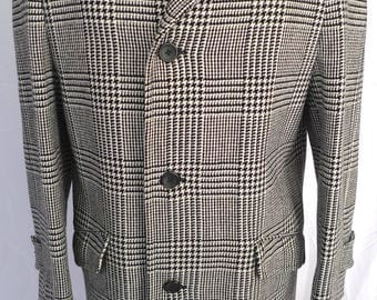 BURBERRY Wool Black and White Check Plaid TRENCH COAT Over Coat England Burberrys