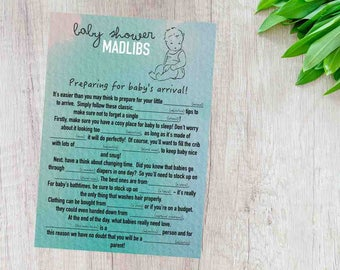 MadLibs Mad Libs Baby Shower Game Boys Blue Printable Digital Download Party Mom-to-be Fun Word