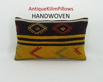 kilim pillow 12x20 lumbar pillow cover decorative indie pillow case sofa pillow cover throw pillow southwestern pillow home decor 000172