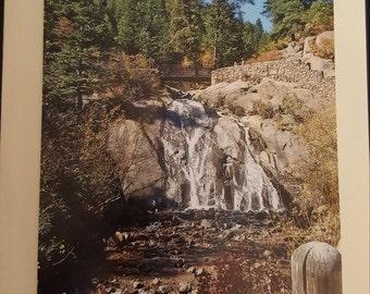 Blank greeting card featuring Colorado Waterfall Scenery