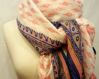 Scarf, scarf, stole, Bohemian, for woman, coral.