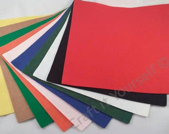 10 piece multi-coloured felt pack sheets