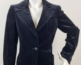 Vintage ICONIC Celine 1970's Velvet Smoker Tuxedo Jacket Blazer Size 40/Small