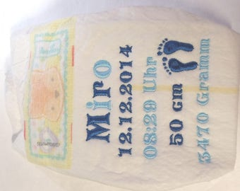 embroidered diaper pampers birth gift for part of the diaper diaper cake