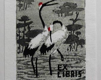 Superbe Xylographie (ex-libris) de grues à crête rouge - China woodblock signed bookplate of cranes, the national bird of China