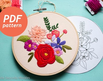 Rainbow Floral Embroidery pattern PDF Digital Download