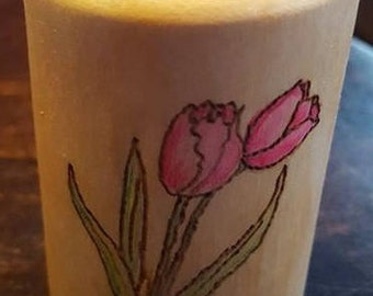 Hand carved wooden pot with tulip design