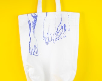 Screen printed tote bag, Blue tote bag, Hands, Hand drawing, Hand printed, Recycled cotton tote bag