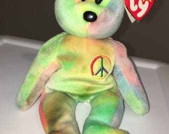 Rare Ty Beanie Baby-PEACE BEAR- Original Collectible